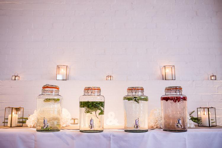 Drink Dispensers Water Flavoured Urban London Stylish Navy White Wedding http://karibellamy.com/