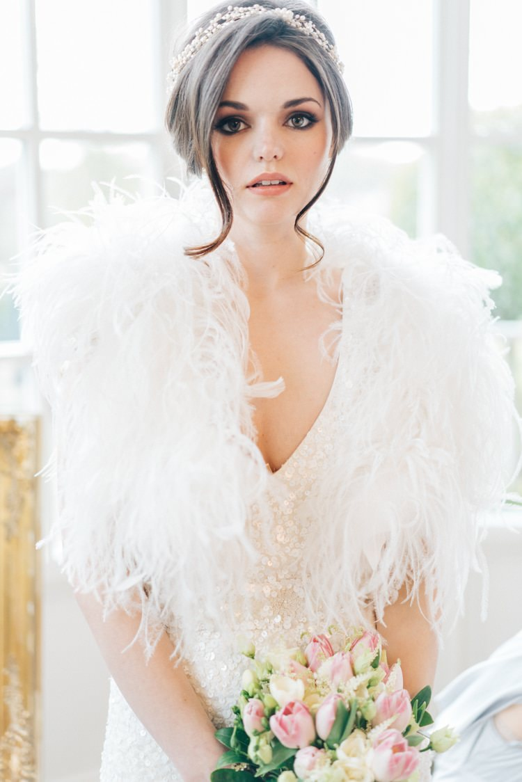 7e547dd9d4 ... Feather Cover Up Accessory Bride Bridal Vintage Glam Rose Gold Pink  Wedding Ideas http:/ ...