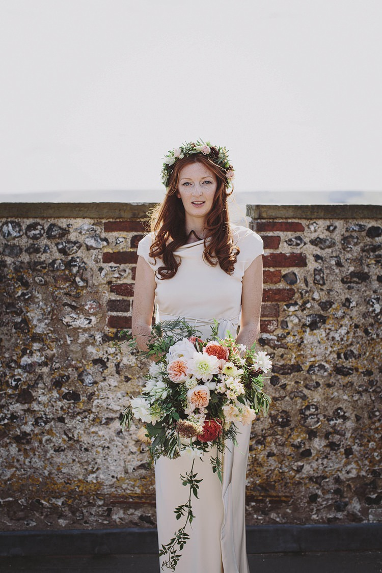 Sabina Motasem Dress Gown Bride Bridal Flower Crown Bouquet Whimsical Outdoor Floral Wedding http://www.lukehayden.co.uk/