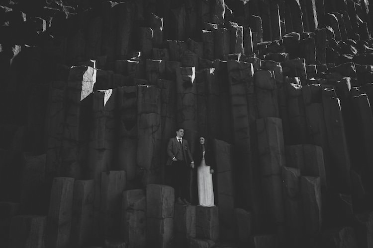 Bride Beaded Stephanie Allin Bridal Gown Black Jacket Groom Grey Tweed Jacket Skinny Jeans Rock Wall Glacier Lagoon Iceland Anniversary Shoot http://marcsmithphotography.com/