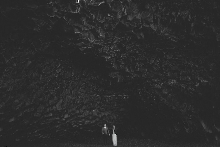 Bride Beaded Stephanie Allin Bridal Gown Leather Jacket Groom Grey Tweed Jacket Skinny Jeans Black Rocks Glacier Lagoon Iceland Anniversary Shoot http://marcsmithphotography.com/