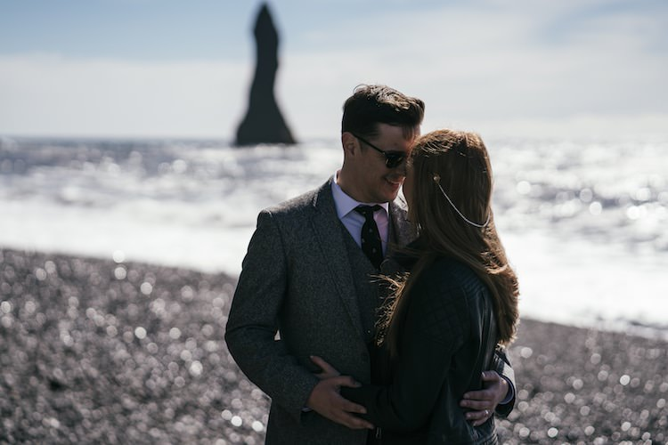 Bride Leather Jacket Pearl Hair Accessory Groom Grey Tweed Jacket Vest Tie Sunglasses Sand Ocean Beach Glacier Lagoon Iceland Anniversary Shoot http://marcsmithphotography.com/