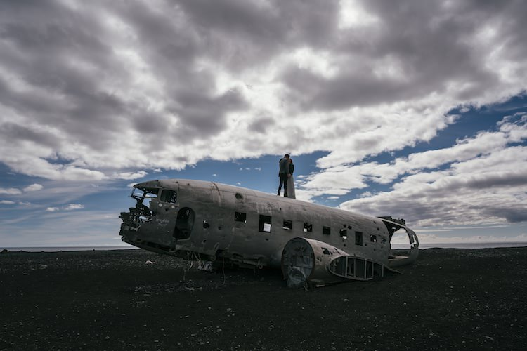 Bride Groom Plane Wreck Blue Sky Clouds Desolate Glacier Lagoon Iceland Anniversary Shoot http://marcsmithphotography.com/