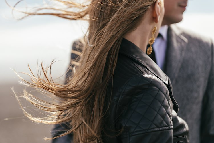 Bride Leather Jacket Gold Drop Earrings Groom Grey Tweed Jacket Tie Wind Glacier Lagoon Iceland Anniversary Shoot http://marcsmithphotography.com/