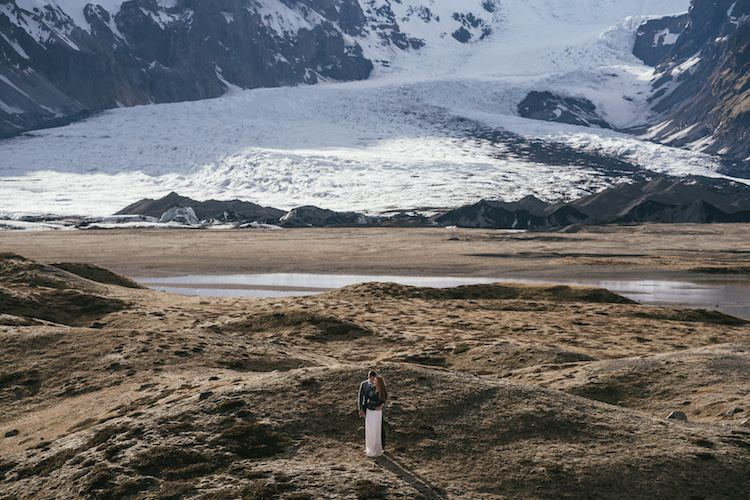 Bride Groom Landscape Snow Sand Water Mountains Glacier Lagoon Iceland Anniversary Shoot http://marcsmithphotography.com/
