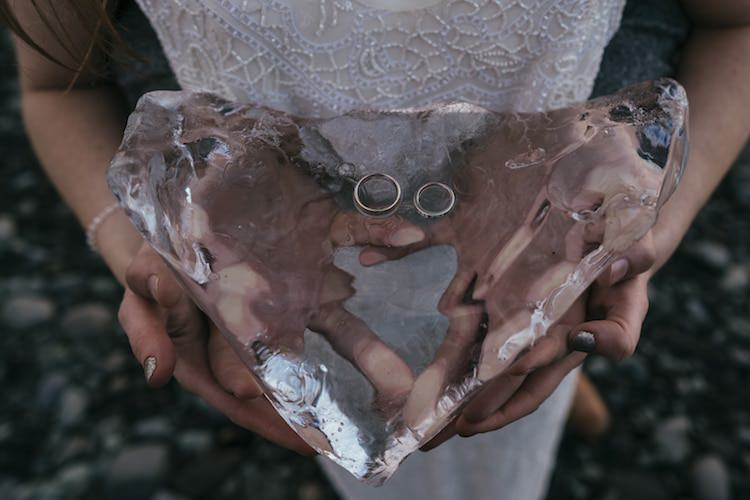 Wedding Bands Ice Heart Bride Groom Hands Glacier Lagoon Iceland Anniversary Shoot http://marcsmithphotography.com/