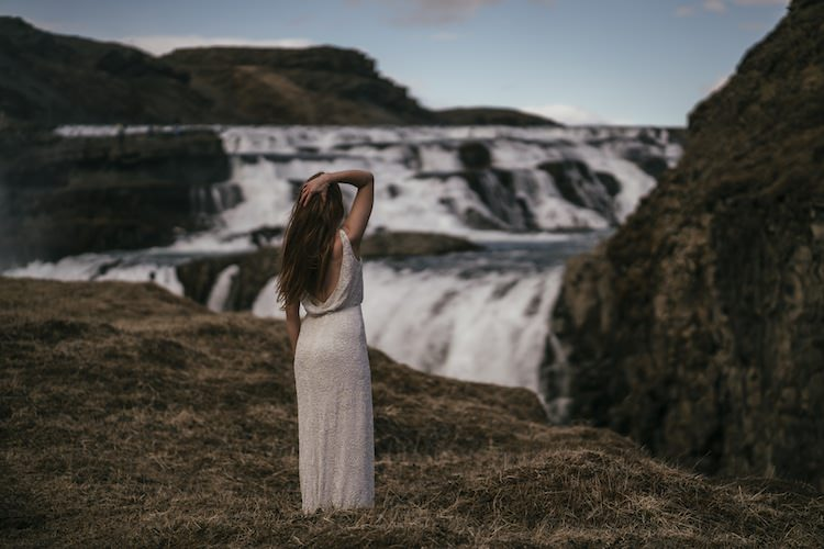 Bride Beaded Low Back Stephanie Allin Bridal Gown Waterfalls Landscape Glacier Lagoon Iceland Anniversary Shoot http://marcsmithphotography.com/