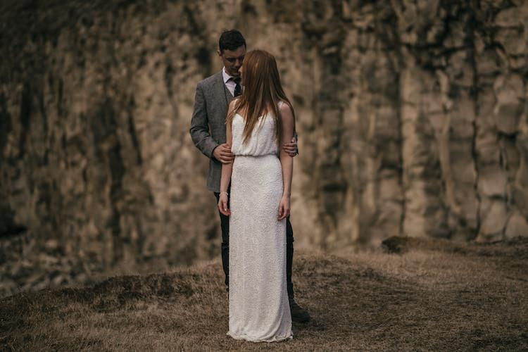 Bride Beaded Stephanie Allin Bridal Gown Groom Grey Tweed Jacket Tie Skinny Jeans Mountain Sand Glacier Lagoon Iceland Anniversary Shoot http://marcsmithphotography.com/