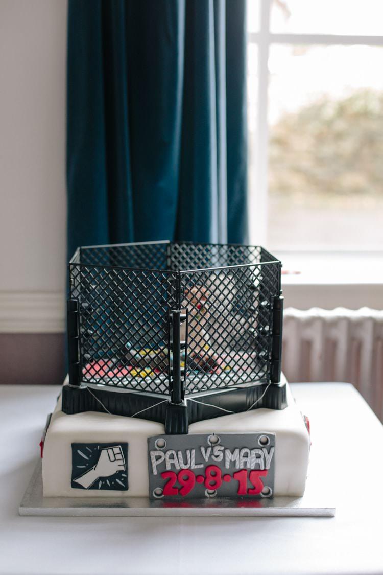MMA meets UFC Cake Informal Vintage Personal Wedding http://www.marknewtonweddings.co.uk/