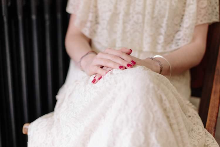 Red Nails Bride Bridal Informal Vintage Personal Wedding http://www.marknewtonweddings.co.uk/