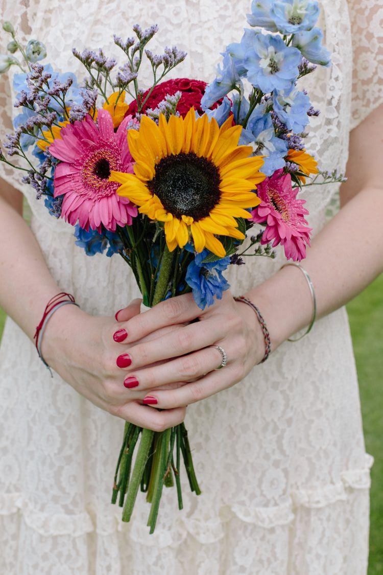 Bouquet Wild Colourful Sunflower Gerbera Bride Bridal Flowers Informal Vintage Personal Wedding http://www.marknewtonweddings.co.uk/