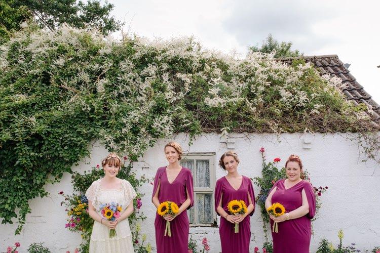 Pink Bridesmaid Dresses Sunflowers Bouquets Informal Vintage Personal Wedding http://www.marknewtonweddings.co.uk/