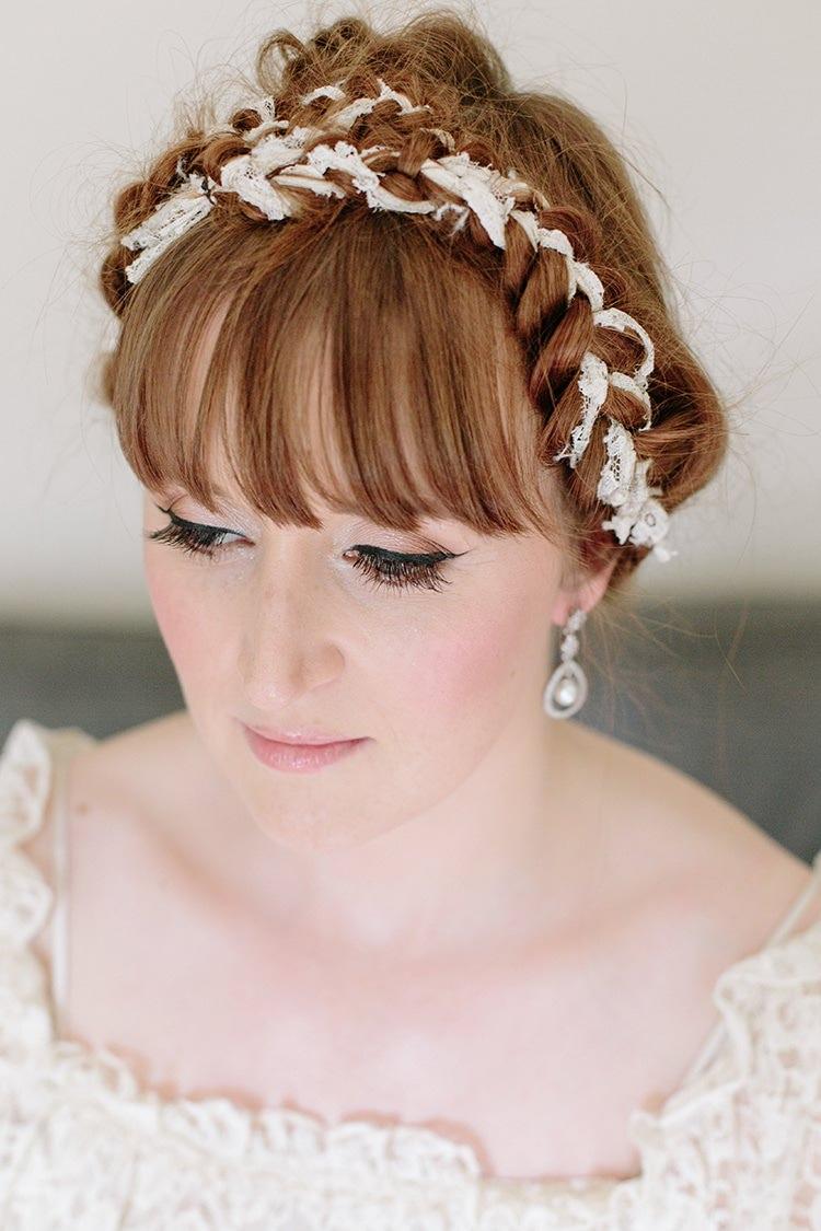 Hair Bride Bridal Plaited Braided Fringe Bangs Informal Vintage Personal Wedding http://www.marknewtonweddings.co.uk/