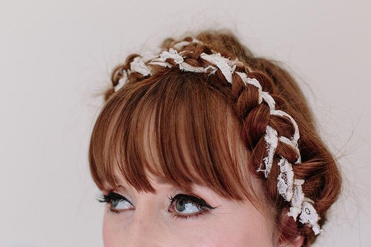 Plaited Braided Hair Bride Bridal Fringe Bangs Informal Vintage Personal Wedding http://www.marknewtonweddings.co.uk/