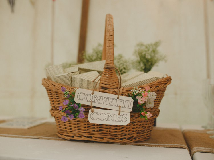 Confetti Cones Basket Wicker Creative Relaxed Child Friendly Wedding http://www.brookrosephotography.co.uk/