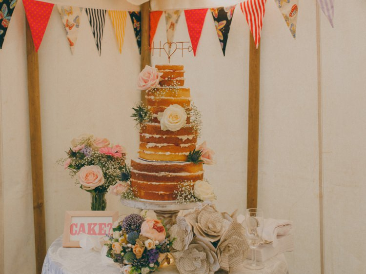 Naked Cake Victoria Sponge Layer Table Creative Relaxed Child Friendly Wedding http://www.brookrosephotography.co.uk/