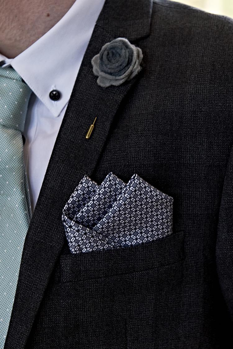 Felt Buttonhole Pocket Square Groom Modern Mint Gold Grey City Wedding http://www.studiocano.co.uk/
