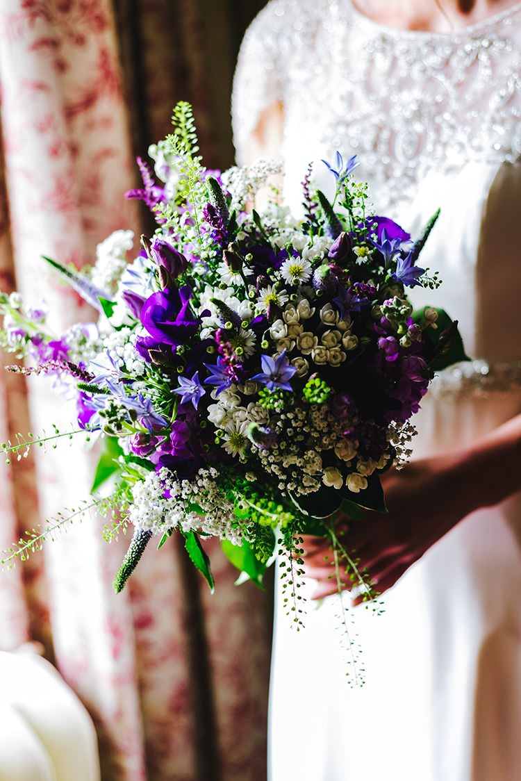 Purple Blue White Bouquet Flowers Bride Bridal Summer Rustic Relaxed Country Garden Wedding http://www.dmcclane.com/