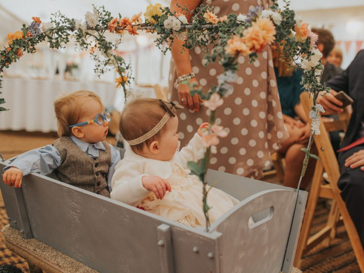 Wagon Babies Aisle Page Boy Baby Flower Girl Creative Relaxed Child Friendly Wedding http://www.brookrosephotography.co.uk/
