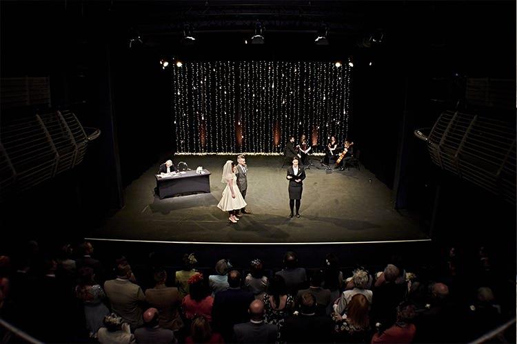 Theatre Ceremony Modern Mint Gold Grey City Wedding http://www.studiocano.co.uk/