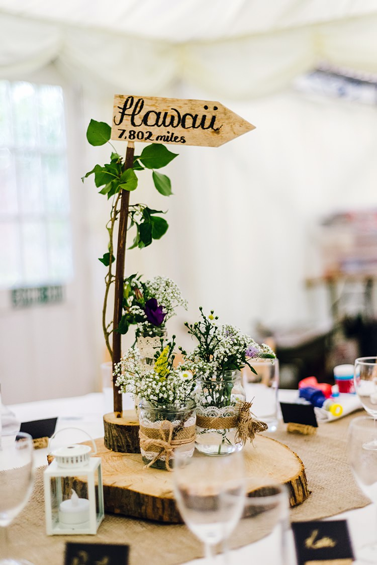 Decor Centrepiece Table Log Slice Jar Flowers Name Branch Rustic Relaxed Country Garden Wedding http://www.dmcclane.com/
