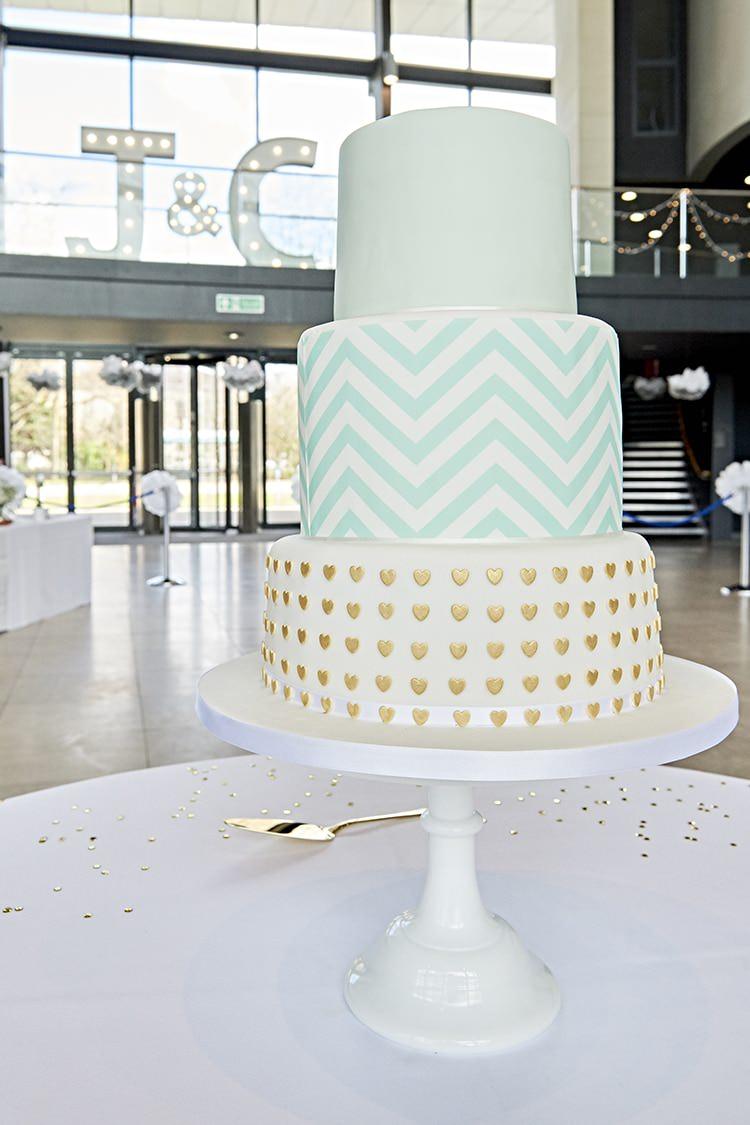 Chevron Heart Cake Graphic Modern Mint Gold Grey City Wedding http://www.studiocano.co.uk/