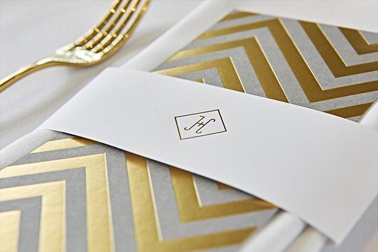 Chevron Stationery Place Setting Menu Modern Mint Gold Grey City Wedding http://www.studiocano.co.uk/