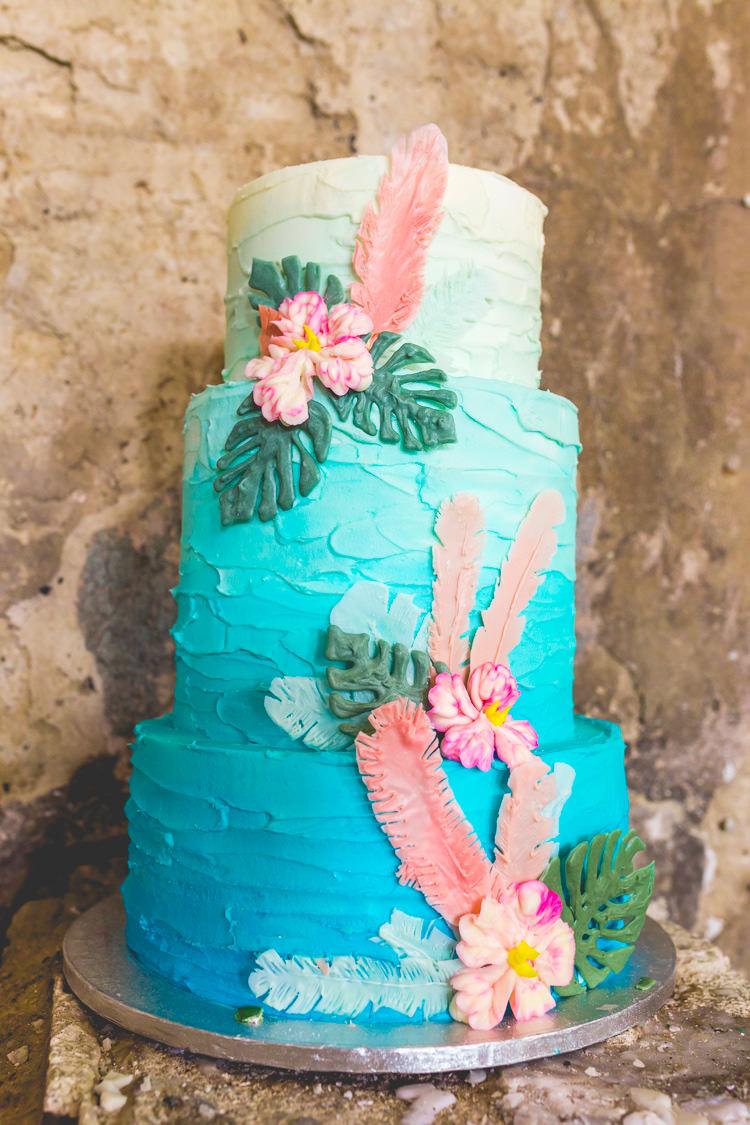 Butter Cream Cake Ombre Flowers Tropical Colourful Alternative Same Sex Wedding Ideas http://www.els-photography.com/