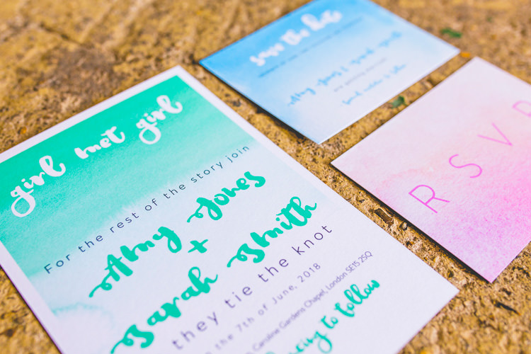 Ombre Stationery Invitations Watercolour Colourful Alternative Same Sex Wedding Ideas http://www.els-photography.com/