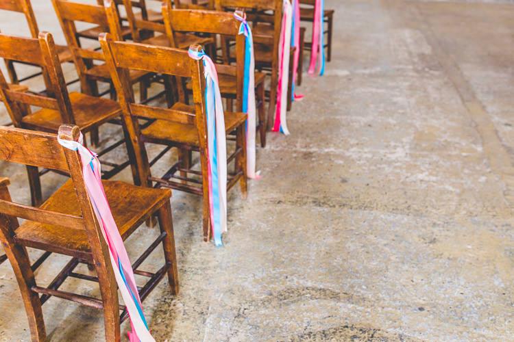 Ribbon Pew End Chairs Decor Colourful Alternative Same Sex Wedding Ideas http://www.els-photography.com/