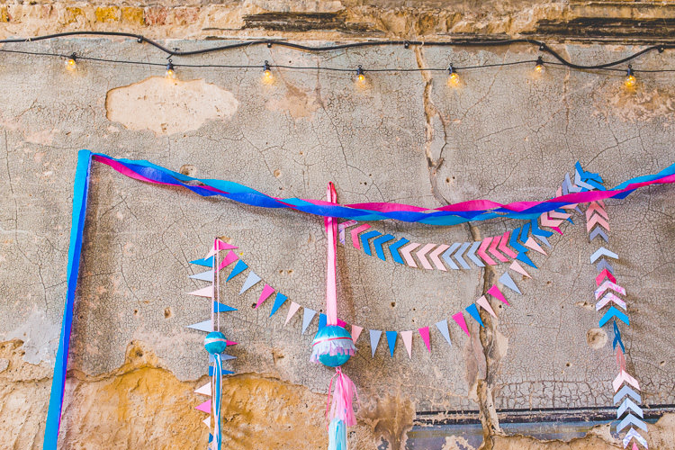 Paper Garland Flags Bunting Crepe Streamers Colourful Alternative Same Sex Wedding Ideas http://www.els-photography.com/