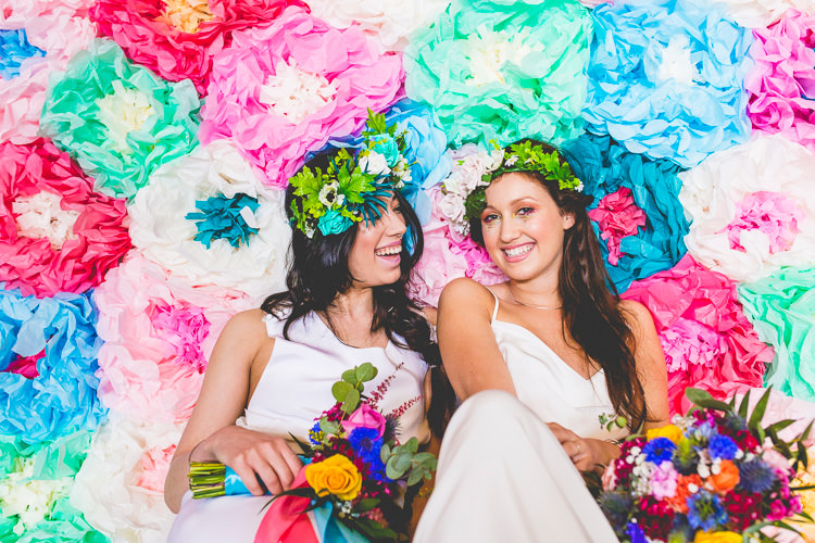 Tissue Paper Flower Backdrop Ceremony Colourful Alternative Same Sex Wedding Ideas http://www.els-photography.com/