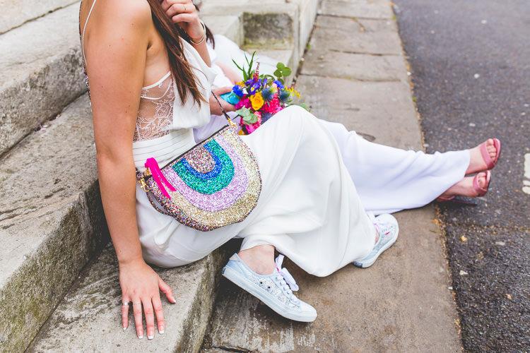 Rainbow Glitter Bag Colourful Alternative Same Sex Wedding Ideas http://www.els-photography.com/
