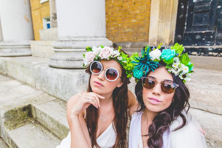 Flower Crowns Sunglassses Bride Bridal Colourful Alternative Same Sex Wedding Ideas http://www.els-photography.com/