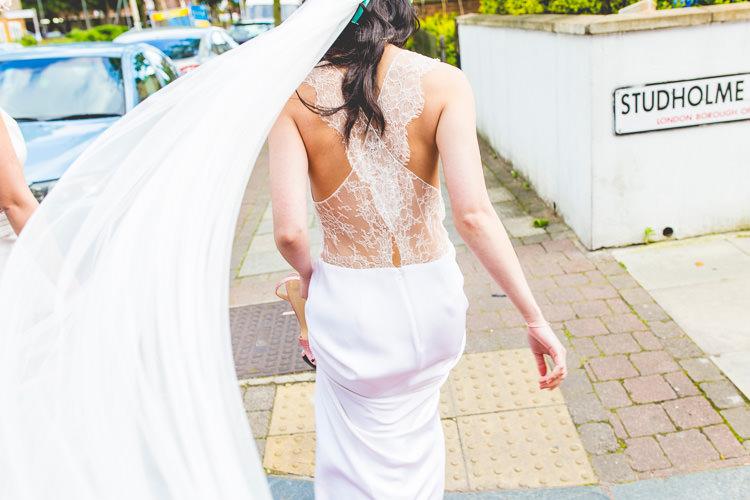 La Poesie Sheer Lace Cross Back Gown Dress Bride Bridal Colourful Alternative Same Sex Wedding Ideas http://www.els-photography.com/