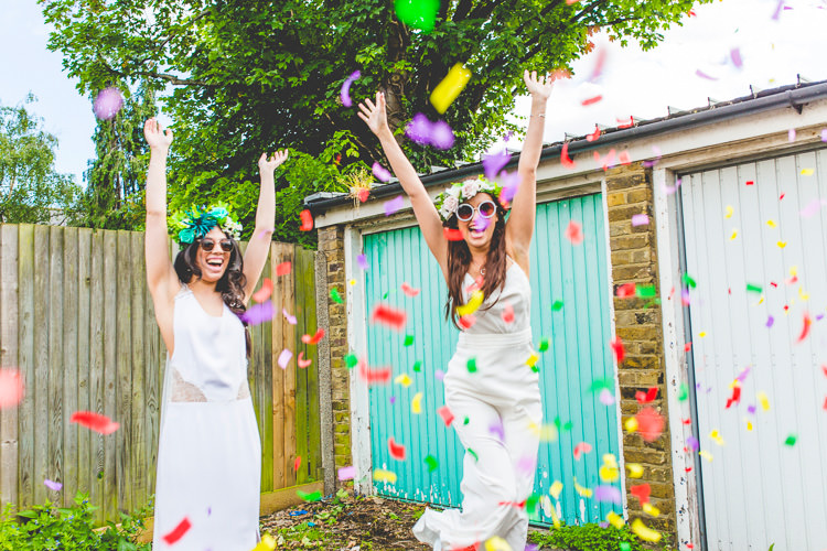 Confetti Throw Brides Colourful Alternative Same Sex Wedding Ideas http://www.els-photography.com/