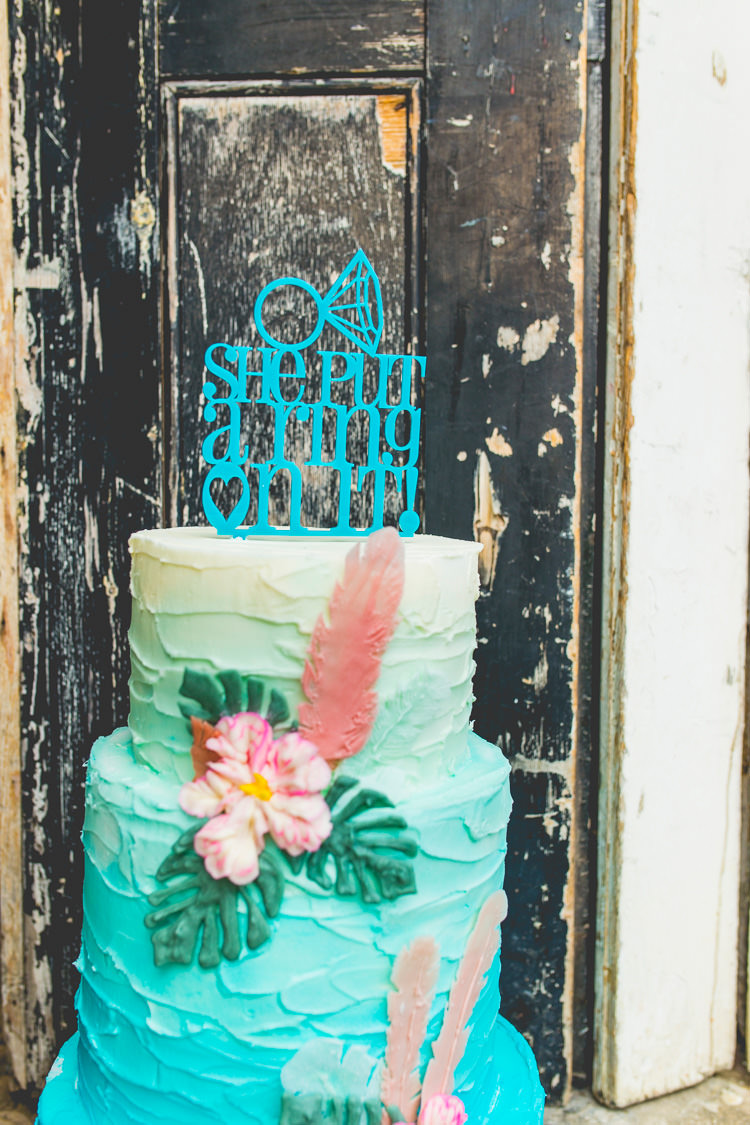She Put A Ring On It Cake Topper Colourful Alternative Same Sex Wedding Ideas http://www.els-photography.com/