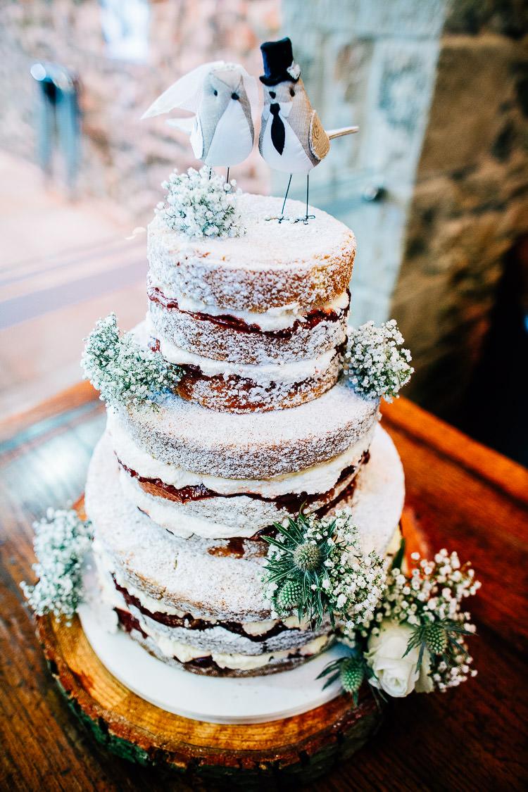 Naked Cake Sponge Victoria Layers Flowers Icing Log Dreamy Stylish Barn Wedding http://www.faircloughphotography.co.uk/