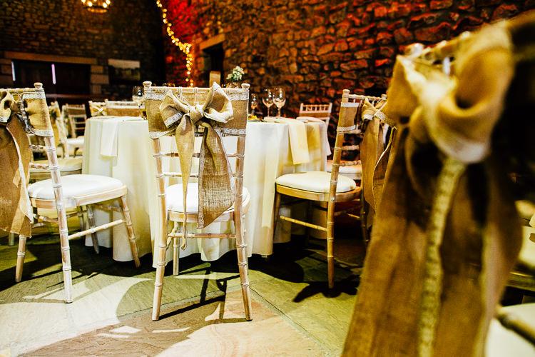 Hessian Bow Chair Covers Decor Dreamy Stylish Barn Wedding http://www.faircloughphotography.co.uk/