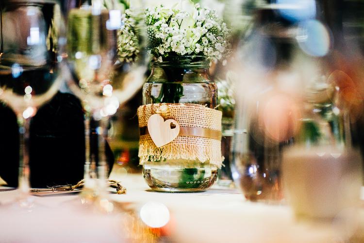 Hessian Jars Flowers Blooms Dreamy Stylish Barn Wedding http://www.faircloughphotography.co.uk/