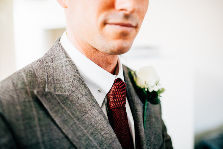 Red Knitted Tie Groom Dreamy Stylish Barn Wedding http://www.faircloughphotography.co.uk/