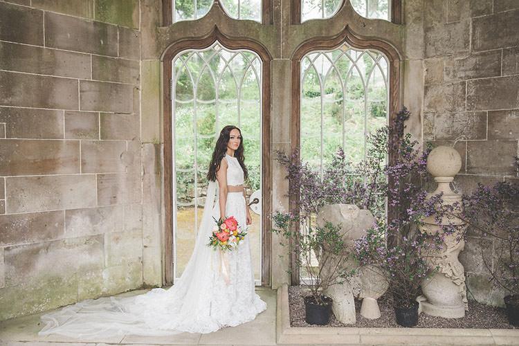 Bridal Seperates Dress Gown Top Skirt Boho Bride Playful Peach Wedding Ideas http://www.kelleequinnphotography.com/