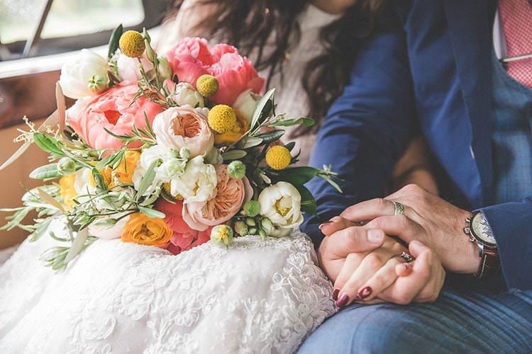 Whimsical Bouquet Coral Peony Peonies Billy Ball Yellow Ribbons Wild Flowers Bride Bridal Playful Peach Wedding Ideas http://www.kelleequinnphotography.com/