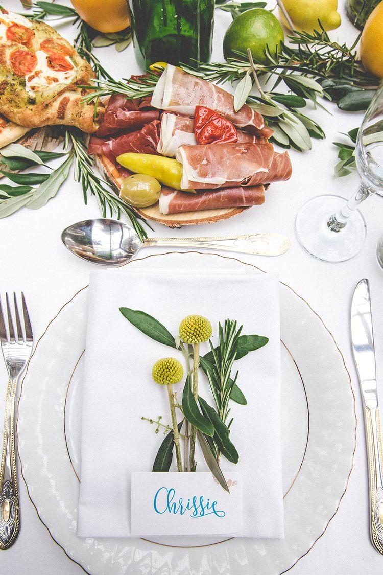 Place Setting Herbs Billy Ball Decor Playful Peach Wedding Ideas http://www.kelleequinnphotography.com/