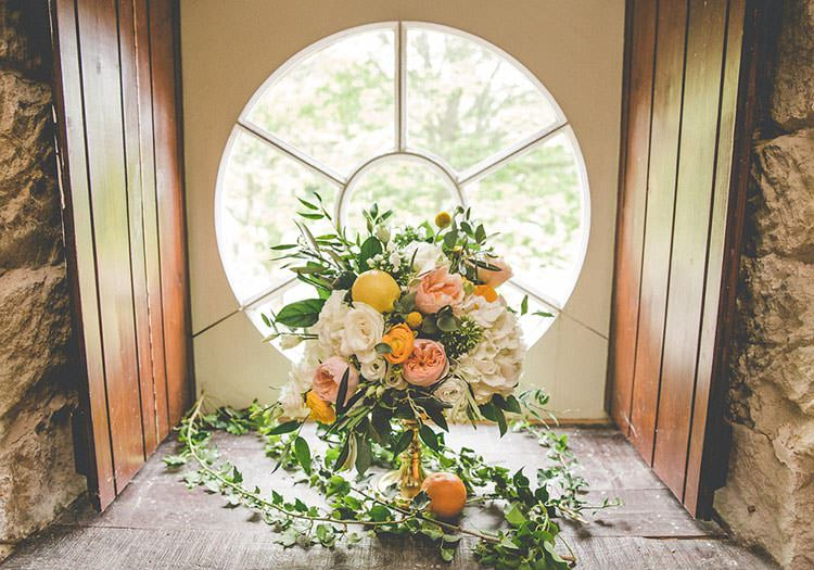 Whimsical Bouquet Lemons Roses Yellow Wild Flowers Bride Bridal Playful Peach Wedding Ideas http://www.kelleequinnphotography.com/