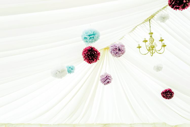 Pom Poms Rustic Relaxed Country Garden Wedding http://www.dmcclane.com/