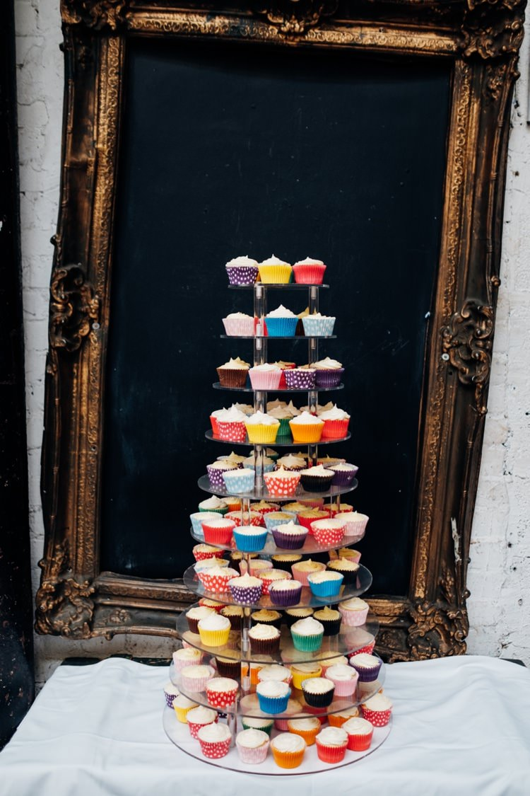 Colourful Cupcake Tower Cake Quirky Music City Wedding http://www.mariannechua.com/