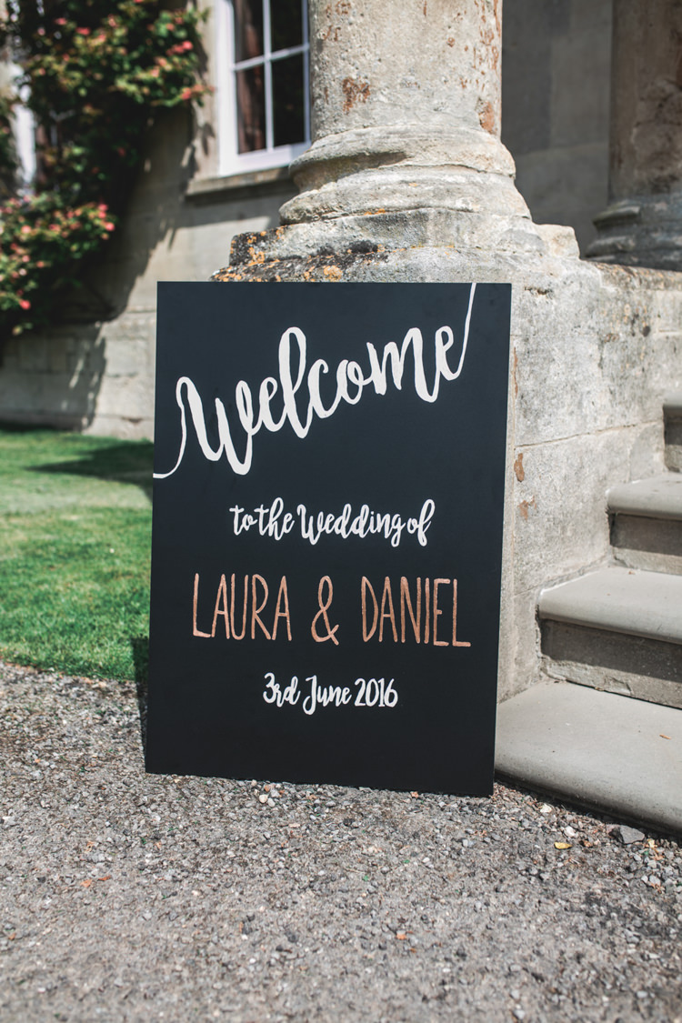 Welcome Sign Black Chalk Board Romantic Coral Summer Wedding http://www.ljm-photography.co.uk/