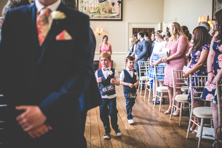 Page Boys Bow Ties Waistcoats Romantic Coral Summer Wedding http://www.ljm-photography.co.uk/