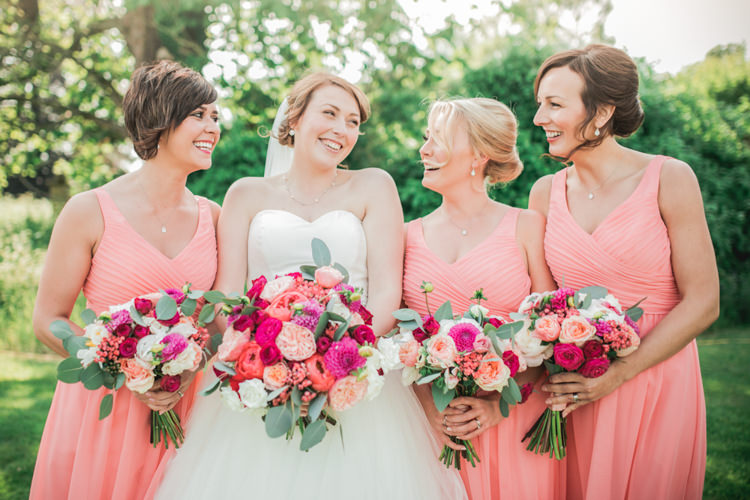 Bouquets Flowers Pink Peony Peonies Dahlia Roses Bride Bridal Bridesmaids Romantic Coral Summer Wedding http://www.ljm-photography.co.uk/